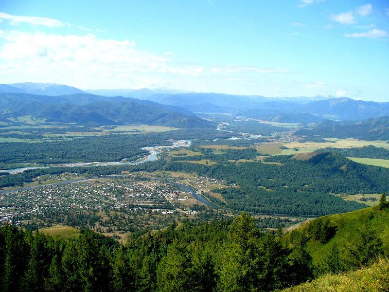 Уймонская долина. Вид на село Усть-Кокса. Республика Алтай. (Современное фото)
