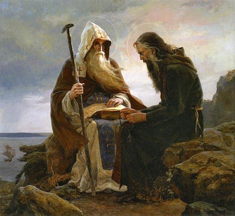 Васнецов В.М. (1848-1926). Патриарх Тихон и Сергий Булгаков.