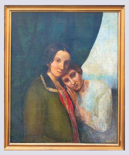 Неизвестный художник. Две Елены.  Е.А. Ган и Е.П. Ган (Блаватская). 1844-1845.