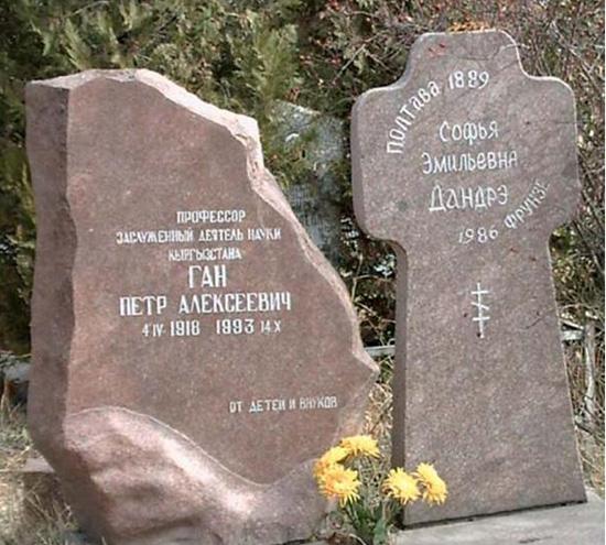 Памятник на могиле П.А. Гана и С.Э. Дандре (Ган). Фото 14 октября 2007 г.