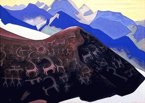 Н.К. Рерих. Скалы Лахула [Скалы Лахула (Знаки Гэсэра)]1935 (1936?)