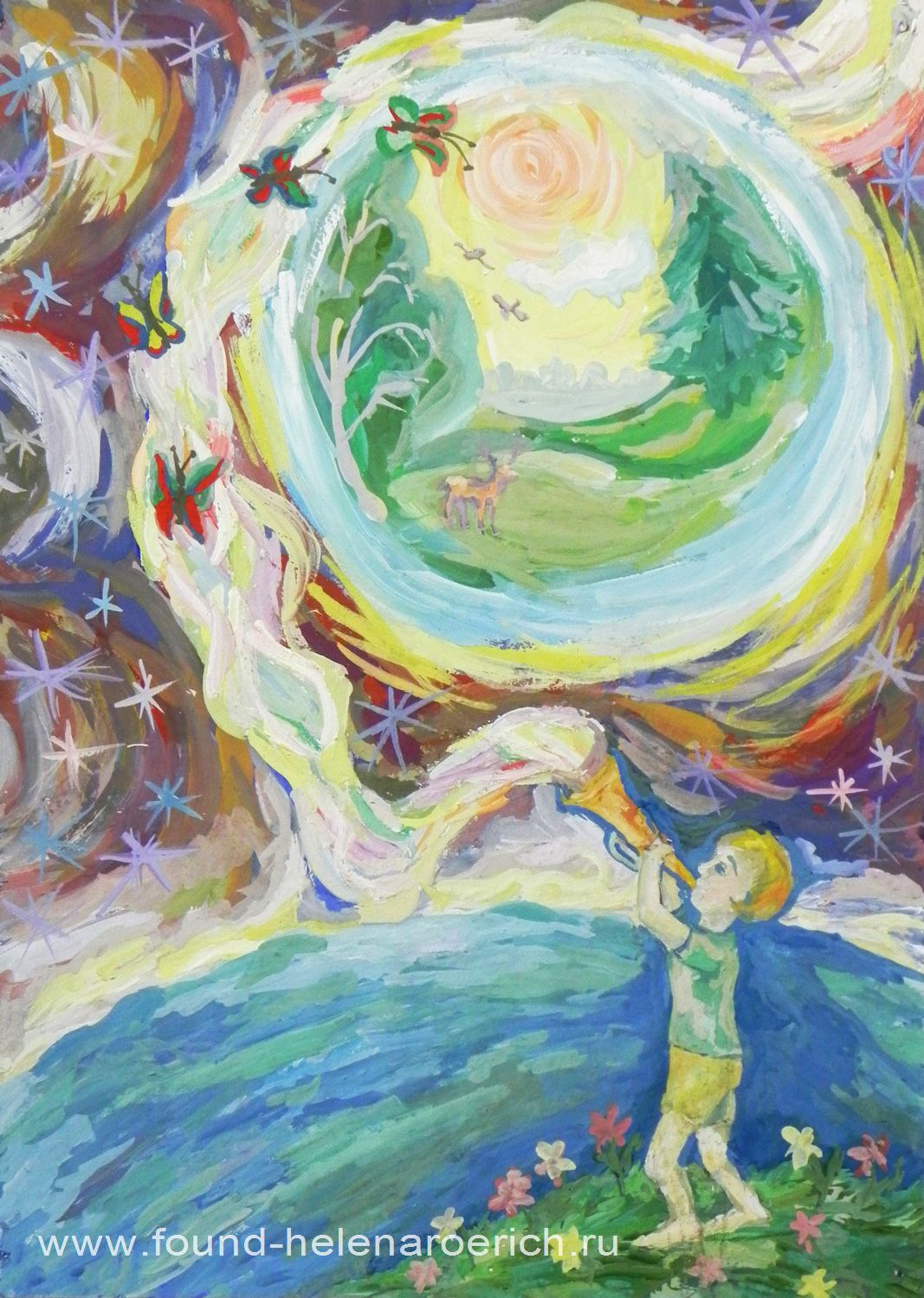 Минайло Маша, 14 лет. Музыка Вселенной. Космическая галерея Благотворительного Фонда имени Е.И.Рерих