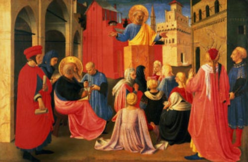 Евангелист Марк записал проповедь апостола Петра. Фра Анжелико, 1455