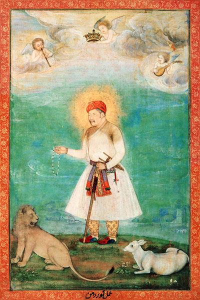 Говардан. Портрет Акбара с теленком и львом. 1630
