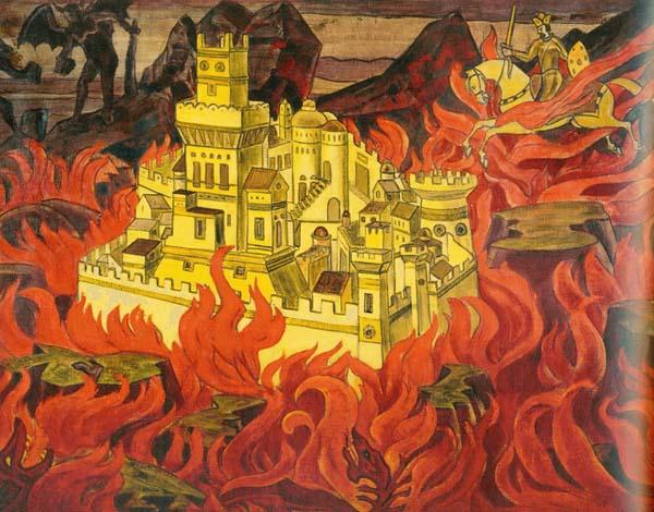 Н.К. Рерих. Пречистый град - врагам озлобление. 1912