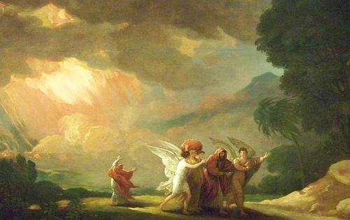 Лот с семьей покидает Содом
