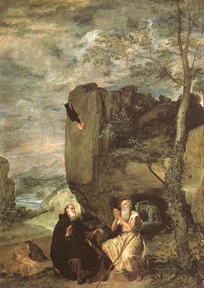 Диего Веласкес. Святые Антоний и Павел. ~1630. Прадо
